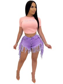 Summer High Waist Quasten Denim Short