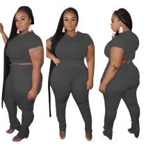 Conjunto de pantalones apilados de dos piezas liso liso talla grande