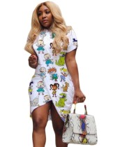 Sommer Cartoon Print Wrapped Shirt Kleid