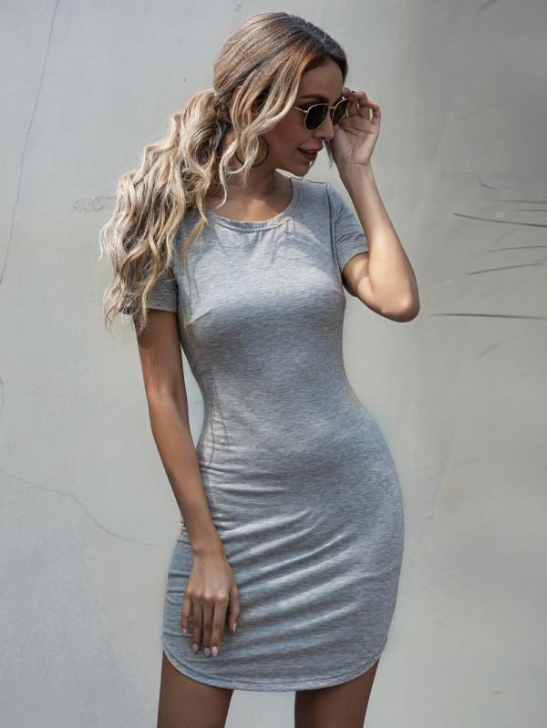 Vestido de camisa apertada cinza verão