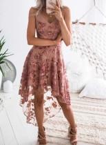 Elegante Blume High Low Straps Partykleid
