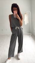 Sommer ärmellose Kordelzug Pyjama Overall