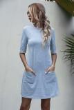 Summer Grey Pocket Shirt Kleid