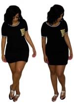 Sommer Print Pocket Shirt Kleid