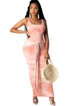 Batik Kemerli Kolsuz Uzun Elbise