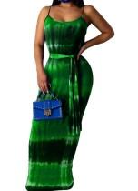 Tie Dye Strap Langes Kleid Mit Gürtel