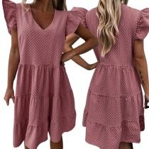Sommer Polka Print A-Linie Kleid mit V-Ausschnitt
