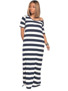 Summer Wide Stripes Hoody Long Dress