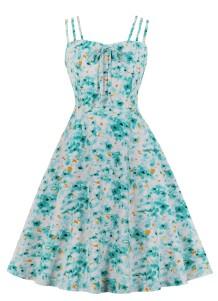 Sommer Blumen Vintage Träger Abendkleid