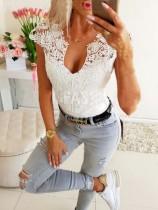 Летняя белая кружевная верхняя сексуальная рубашка Basic