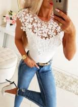 Camisa básica de verano con cuello en O superior de encaje