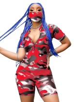 Print Camou Two Piece Shorts Set with Face Cover