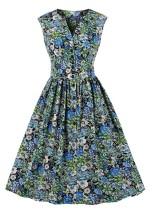 Vestido de fiesta sin mangas vintage floral de verano