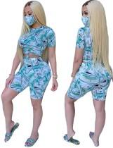 Conjunto de pantalones cortos de motociclista de dos piezas con estampado de dólar sexy con cubierta facial