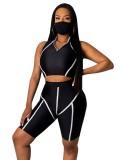 Conjunto de pantalones cortos deportivos de dos piezas con cubierta facial