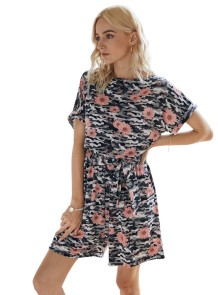 Casual O-Neck Floral Leisure Rompers