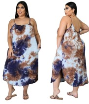 Plus Size Tie Dye Strap Langes Kleid