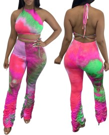 Sexy Tie Dye Crop Top and Stacked Pants Set