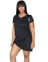 Sommer V-Ausschnitt Knoten Solid Shirt Kleid