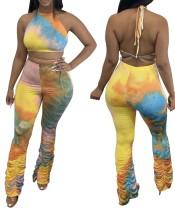 Conjunto de pantalón corto y top corto con efecto tie dye