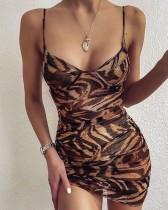 Sexy mini clubjurk met luipaardband