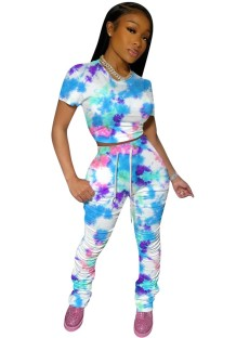 Summer Tie Dye Two Piece Stacked Pants Set