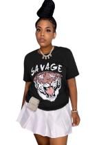 Zomer dierenprint O-hals basic shirt