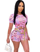 Summer Sexy Butterfly Tight Two Piece Shorts Set
