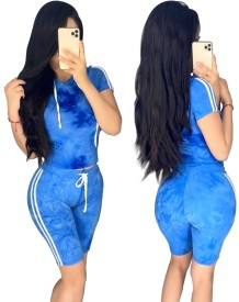 Summer Tie Dye Two Piece Shorts Tracksuit