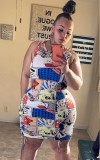 Plus Size Multi Color Sleeveless Bodycon Dress