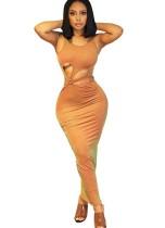 Sexy ausgeschnittenes ärmelloses enges langes Kleid