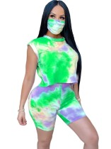 Summer Tie Dye Two Piece Shorts Set with Face Cover