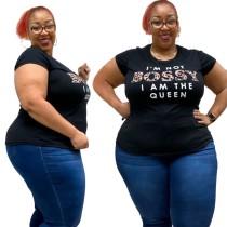 Camiseta Plus Size Preto com Gola O