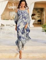 Sommer Tie Dye Wide Strap Langes Kleid