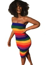Robe tube sexy multicolore