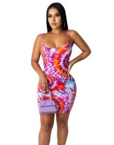 Sexy Tie Dye Strap Mini-jurk