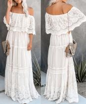 Vestido largo de encaje blanco con hombros descubiertos de verano