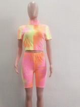 Conjunto de shorts de dos piezas con efecto tie dye