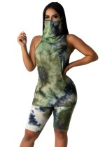 Ensemble de shorts deux pièces Summer Tie Dye avec couvre-visage