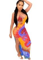 Tie Dye Sexy Straps Slit Vestido largo