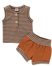 Kids Boy Summer Striped Two Piece Shorts Set