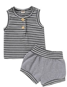 Kids Boy Summer gestreifte zweiteilige Shorts Set
