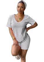 Sommer gestreifte zweiteilige Shorts Pyjama Set mit Stirnband