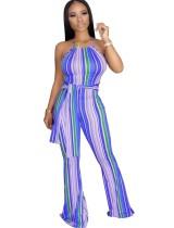 Sexy Stripes Halfter Jumpsuit mit Gürtel