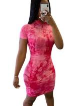 Seksi Batik Kısa Kollu Mini Elbise