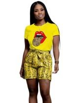 Camisa de língua casual de verão e conjunto de shorts de oncinha