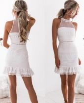 Sexy Scoop Mermaid Minikleid aus weißer Spitze