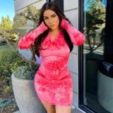 Mini vestido con cremallera y manga larga con efecto tie dye