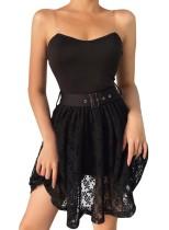 Vestido de tirantes de encaje negro sexy con cinturón