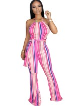 Sexy Stripes Halter Jumpsuit with Belt
